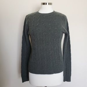 Army Green Cable Knit 100% Cashmere Sweater Large